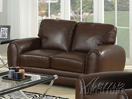 ACME 15241A-A DARK BROWN BONDED LEATHER LOVESEAT