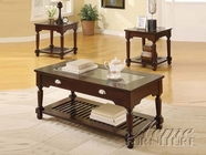 ACME 16220-2X22 Winslow Walnut 3 PC Occasional Table Set with Center Glass Tops