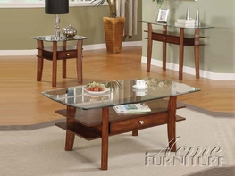 ACME 16230-32-34 Karlyn Cherry 3 PC Occasional Table Set with Glass Tops and Drawers