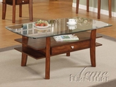 ACME 16230 WOOD BASE/GL TOP COFFEE TABLE