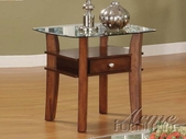 ACME 16232 WOOD BASE/GL TOP END TABLE