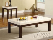 ACME 17415-2X16 Kyle 3 PC Occasional Table Set with White Faux Marble Tops