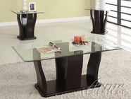 ACME 18450 3PC PK COFFEE/END TABLES W/GLASS TOP (2CTN)