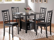 ACME 19000-4X02 Drew Black Finish Strorage Dining Table Set