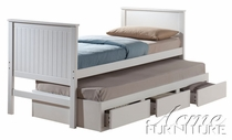 ACME 30035T WHITE TWIN CAPTAIN BED W/ TRUNDLE & DRAWERS-W/P2