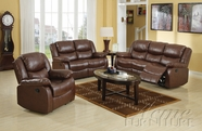ACME 50010-11-12 Fullerton Brown Bonded Leather 3 PC Motion Sofa Set