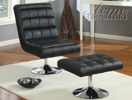 ACME 59040 BLACK CHAIR W/OTTOMAN