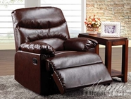 Acme 59066 Cracked Brown Bonded Leather Recliner W/Glider