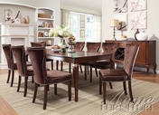 ACME 60020-4X24 Kingston Brown Cherry Finish Glass Top Pedestal Dining Set
