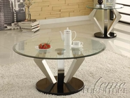 ACME 80000-02 Niki Chrome Finish Glass Top Coffee End Table Set