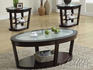 ACME 80015-2X16 Capri Espresso Finish Coffee/End Table w/Crackle Glass Top Set