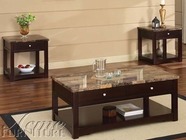 ACME 80018-2X19 Jas Espresso Finish Coffee/End Table w/Faux Marble Lift Top Set