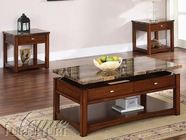 ACME 80020-2X21 Jas Cherry Finish Coffee/End Table w/Faux Marble Lift Top Set