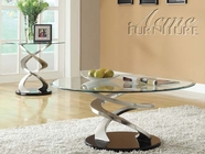 ACME 80030-2X32 Nia Chrome Finish Glass Top Coffee/End Table Set