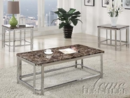 ACME 80040-2X41 Zada Chrome Finish Coffee/End Table w/Faux Marble Set