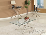 ACME 80048-2X50 Seble Chrome Finish Glass Top Coffee/End Table Set