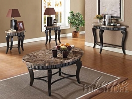 ACME 80068-69-70 Galiana-Brown-Marble-Top-Coffee-End-Table-Set