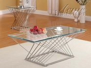 ACME 80125-2X27 Alfred Chrome Finish & Glass Top 3pc Coffee/End Table Set