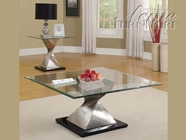 ACME 80143-2x45 Shelley Chrome Finish & Glass Top 3pc Coffee/End Table Set