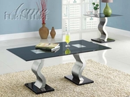 ACME 80150-2X52 Liz Chrome Finish & Black Glass Top 3pc Coffee/End Table Set