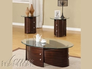 ACME 80193-2x95 Dajon Espresso Finish 3pc Glass Top Coffee/End Table Set