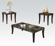 ACME 80366 BK FAUX MARBLE TOP 3PC PK C/E TABLE SET