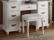 ACME 90026 WHITE VANITY SET W/STOOL
