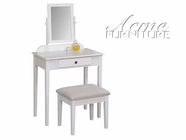 ACME 90043 WHITE VANITY SET(W/ MIRROR&STOLL)-W/P2