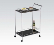 ACME 98000 SERVING CART W/BLACK TEMPER GLASS
