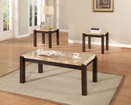ACME Aegean 80793-80794 BROWN MARBLE OCCASIONAL TABLE SET