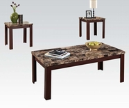 ACME Agatha 80319 3PC PK BROWN FAUX MARBLE C/E TABLE SET