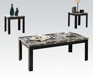 ACME Agatha 80320 3PC PK BLACK FAUX MARBLE TOP C/E TABLE SET