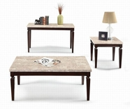 ACME Agatha 80480-80481 WH MARBLE TOP OCCASIONAL TABLE SET