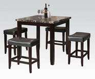 ACME Ainsley 70728 5PC PK BK FX MARBLE C.HEIGHT TABLE W 4 STOOLS