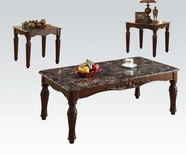 ACME Bart 80322 3PC PK BK/BR MIXED FAUX MARBLE TOP C/E TABLE SET