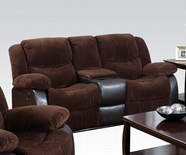 ACME Bernal 50468 CHOCOLATE CORDUROY & ESP PU LOVESEAT W/MOTION & CONSOLE