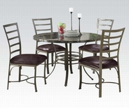 ACME Daisy 70150 BK/RD FAUX MARBLE 5PC DINING SET (CHOCOLATE PU CHAIR)