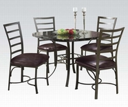 ACME Daisy 70157 BK/SQ FAUX MARBLE 5PC DINING SET (CHOCOLATE PU CHAIR)