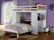 ACME Freya 37145-37152 WHITE LOFTBED SET WITH TWIN BED