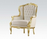 ACME Kassim 59144 GOLD FRAME/WHITE PU ACCENT CHAIR