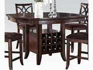 Acme Keenan 60350 Walnut Counter H. Table W/Wine Sto