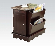 ACME Lisa 92014 FAUX MARBLE SIDE TABLE W/MAGAZINE RACK