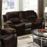 ACME Masaccio 50473 DARK BROWN CHAMPION & PU LOVESEAT W/MOTION/GLIDER/CONSOLE