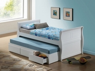 ACME Nebo 30095T WHITE TWIN CAPTAIN BED W/ TRUNDLE & DRAWERS