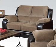 ACME Oisin 50451 LIGHT BROWN CORDUROY & PU LOVESEAT