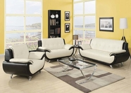 ACME Olivette 50765-50766 WH/BK KD BACK B. LEATHER SOFA SET
