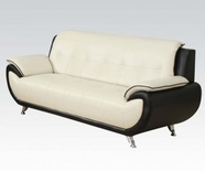 ACME Olivette 50765 WH/BK KD BACK B. LEATHER SOFA