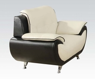 ACME Olivette 50767 WH/BK KD BACK B. LEATHER CHAIR