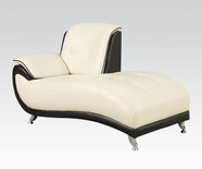 ACME Olivette 50768 WH/BK KD BACK B. LEATHER CHAISE