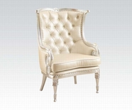 ACME Pawnee 59122 SILVER FRAME ACCENT CHAIR (W/BEIGE PU)